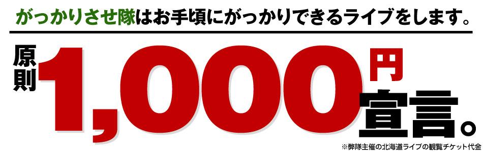 原則1,000円宣言。
